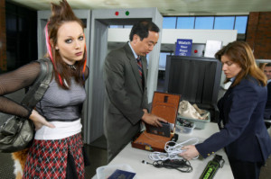 Frustrated Punk Woman Waiting at Airport Security